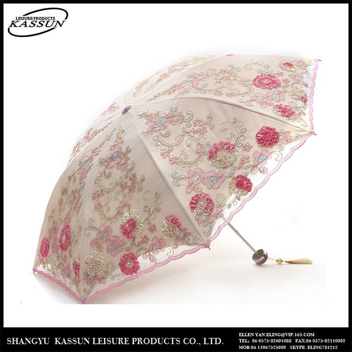 Wholesale china manufacturer top quality embroidery folding umbrella