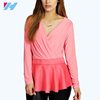 Yihao OEM factory 2016 lady plus size new ledis latest desgins Plus Wrap Over Peplum Top