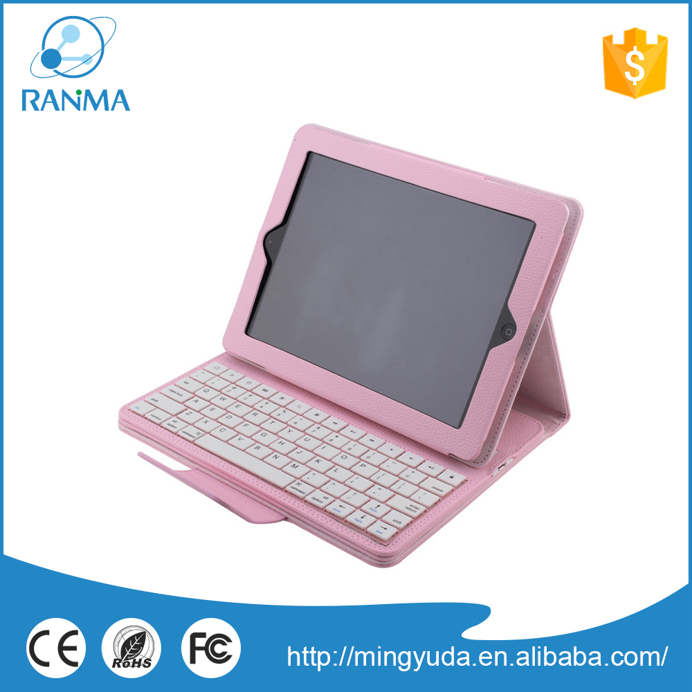 Detachable 9.7 inch pu leather stand keyboard tablet case for ipad 4