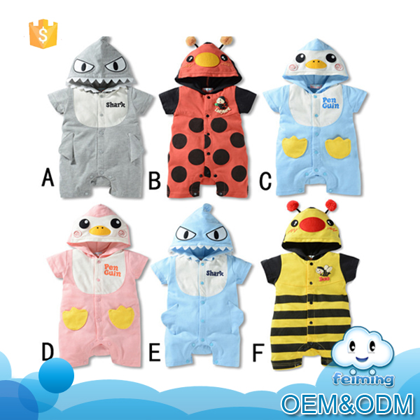 Wholesale children boutique bee romper clothes 2016 fashion high quality cute baby shark romper new born baby penguin romper