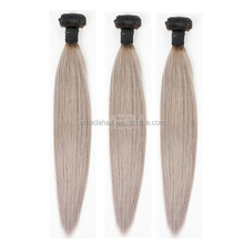 Hot beauty Ombre Brazilian Virgin Hair Ombre Silver Grey Hair Extension Remy Human Hair Weave