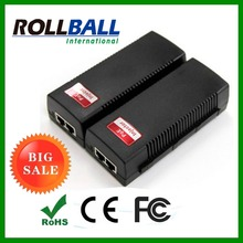 High performance passive poe gigabit poe injector IEEE802.3at standard 30w 2 copper cable RJ45 ports