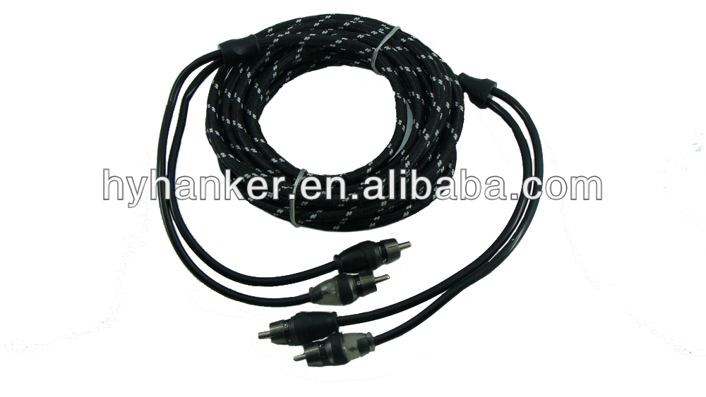 2 rca weave layer twisted pair audio nylon cable
