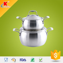 surface belly shpe cast riveted handles stainless steel casserole set