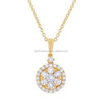 Catchy Three Stone 14K Yellow Gold Diamond Vintage Pendant Cluster Pendants Cross Cheap Diamonds