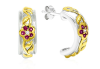 926 Sterling Silver Rhodium and Gold Plated Earrings with Ruby and Premium Cubic