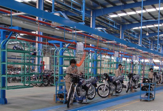 motorcycle conveyor assembly line