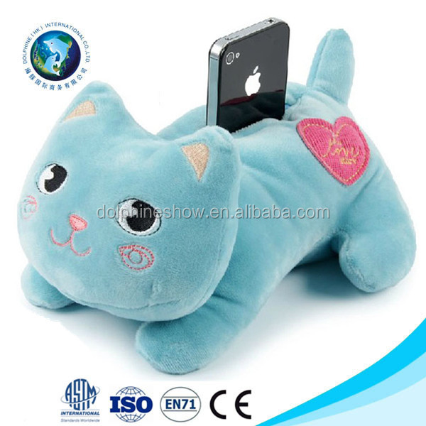 Promotional cute cat plush toy mobile phone holder cheap soft stuffed animal cell phone holder