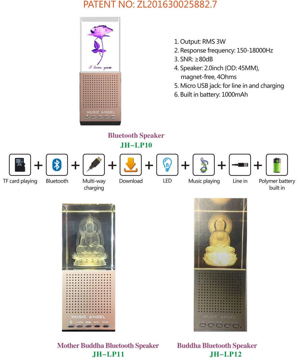 Music Angel New Design LED Colorful Crystal Bluetooth Mini Speaker with TF Card and Download