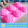 6 Holes Rose Silicone Soap Mould, Silicone Moulds for Soap