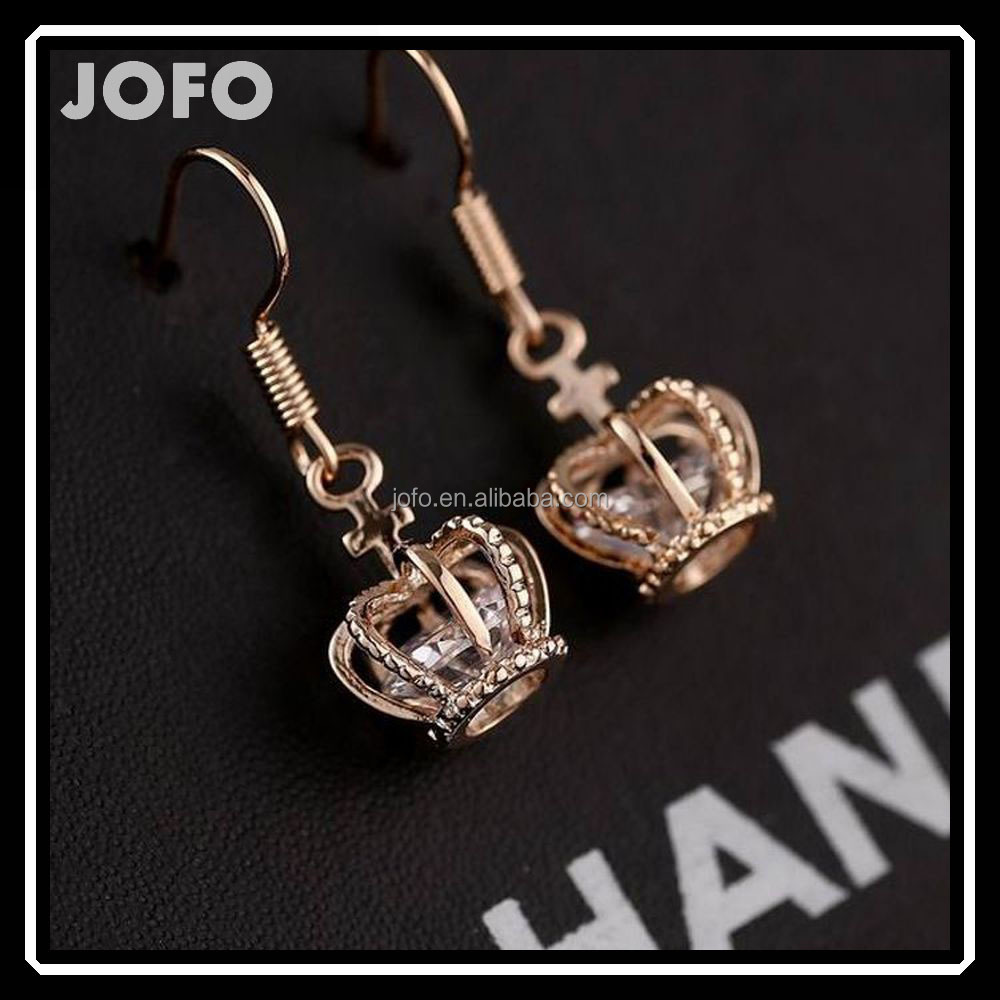 2015 Hot Sale Rhinestone Dangle Earring 3D Tiara Drop Earring
