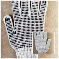 50gbleached cotton gloves with pvc dots