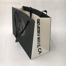 Recycled Ribbon Handle Decorative Unique Customed Printed Luxury Paper Shopping Bag for Apparel Clothes