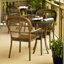 French provincial antique style garden outdoor rattan tea furniture set wicker chairs and table for restaurant cafe