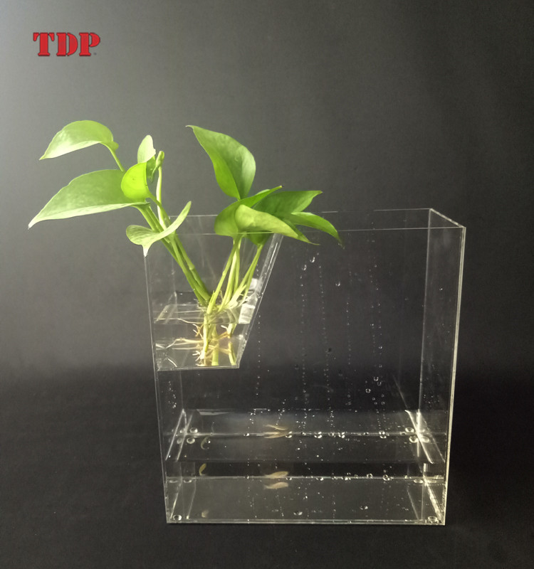 Factory Custom Clear Square Acrylic Fish Tank with Flower Vase Acrylic Aquarium for Decoration