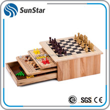 NBSS delivery on time wood colors 10 in 1 wooden game set chess games play
