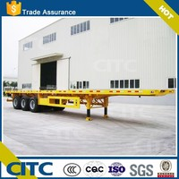 High quality china brand CITC 3 axle 60 ton flatbed semi trailer used container chassis container trailer for sale