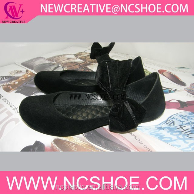 PVC flat shoes flocking new hot sale jelly sandal with bowknot