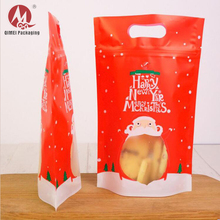 Custome printed aluminum foil laminated clear plastic bags mylar ziplock bag for Christmas of cookies packaging