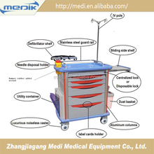 Hot-sell abs plastic emergency resuscitation trolley on wheels
