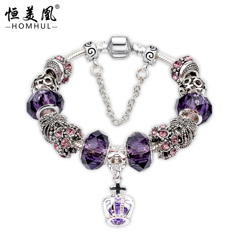 Alloy Jewelry Main Material and Zinc Alloy Material Type Rhinestone Custom Charm Beaded Bracelet