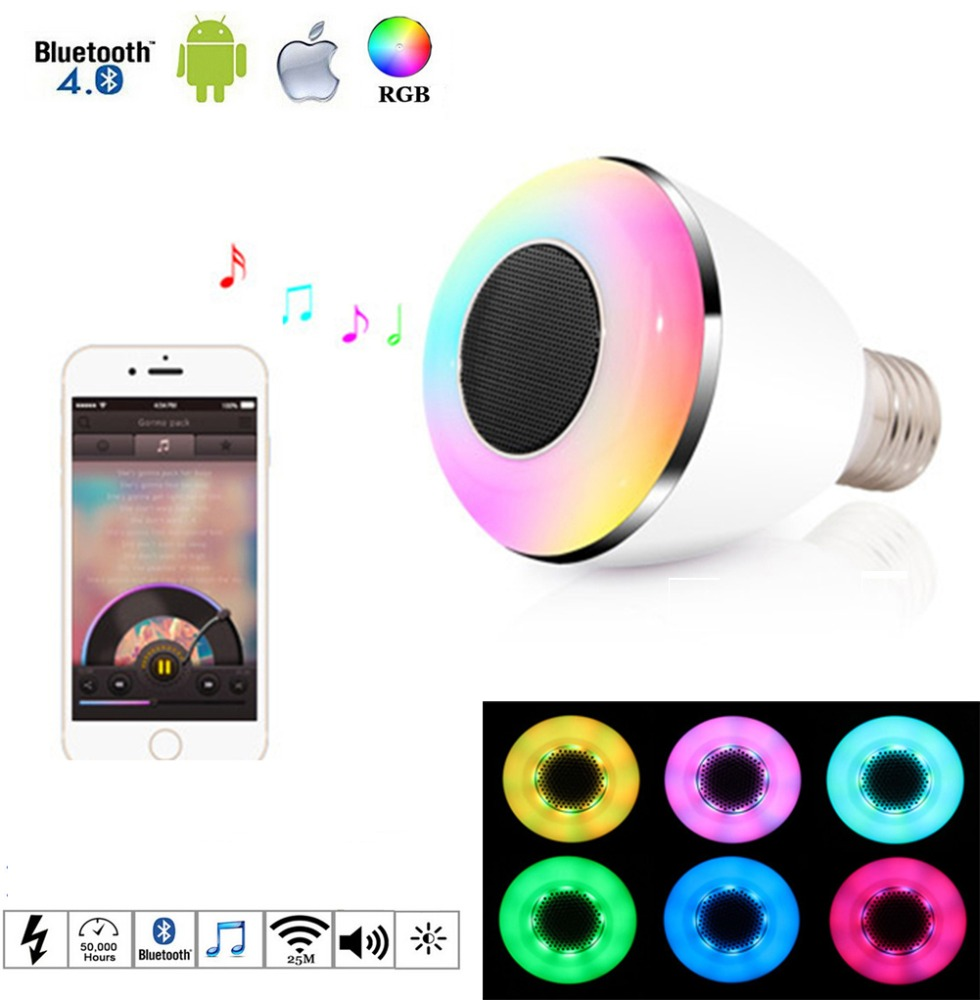 LED RGB Color Bulb Light E27 Bluetooth Control Smart Music Speaker Lamps