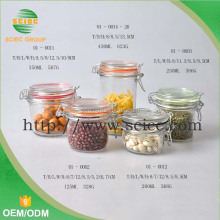wholesale glass clear jar locking lid