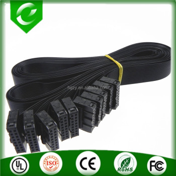16pin 2.54mm ribbon cable black flat cable assembly to IDC connectors