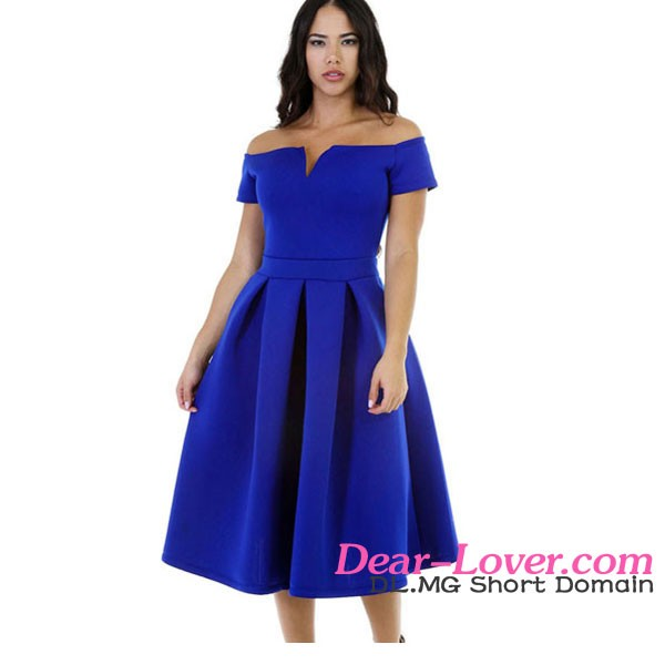 New Stylish 2016 Wholesale Mature Women Solid Blue Thick Flare Vintage Dress