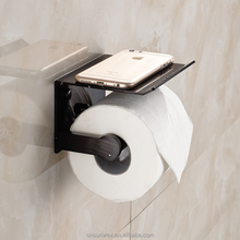 Space Aluminum Toilet Tissue Holder with Phone Shelf Bathroom Paper Holder