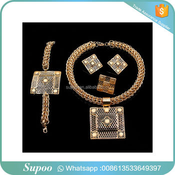 2018 Beautiful Golden Sheen Fashion Dubai Gold Plated Jewelry Set ,Nigerian Wedding African Beads Jewelry Set, Costume Necklace
