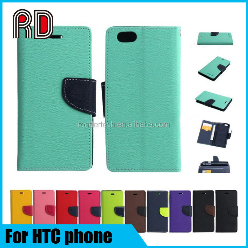Double color Fancy Diary Magnetic wallet book Leather Stand flip Cover case for HTC Desire 626 820 310 one m7 A9 E9 plus