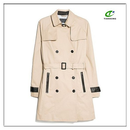 OEM fashion double-breasted cotton trench coat for women