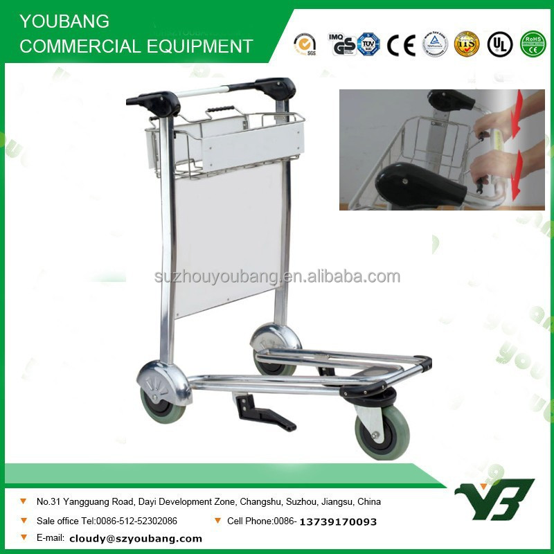 2015 New best selling 3 wheels 304 stainless steel hand trolley with brake (YB-AT08)