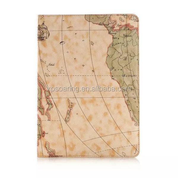 for ipad 6 stand leather case with card slots, for ipad 6 map leather case