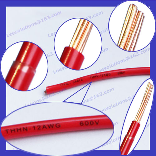 750V <strong>copper</strong>/CCA conductor/PVC sheathed TW/THHN/THW fire resistant cable 14,12,10,8,6 AWG for South American market