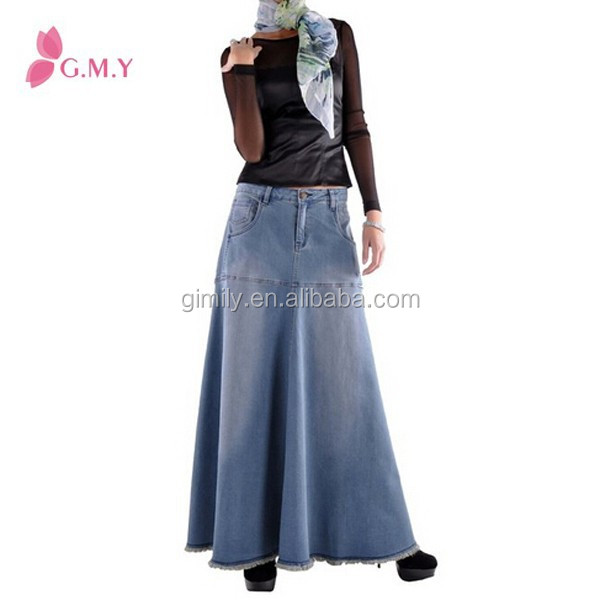 Korean fashiondenim skirts with five pockets, Fashional saia long skirt maxi