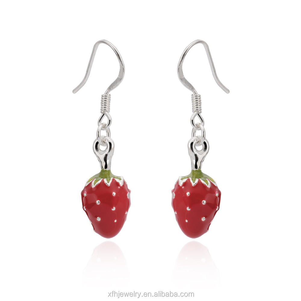Fashion Design Cute Vivid Red Strawberry Silver Drop Earrings for Women