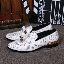 NA033 Big Size 46 Designer Men Suede Dress Shoes White Wedding Shoe Party Crystal Men Loafers Knot Smoking Slipper Male Flats