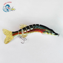 wholesale artificial fishing bait hard pike fishing tackle 8 sections jointed lure