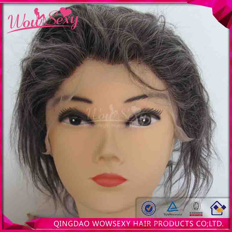 Wowsexy Hair Straight silver grey human hair lace wigs