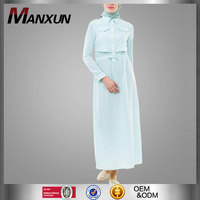 Muslim Jubah 2016 Mint Green Islamic Dress Long Sleeve Beautiful Abaya