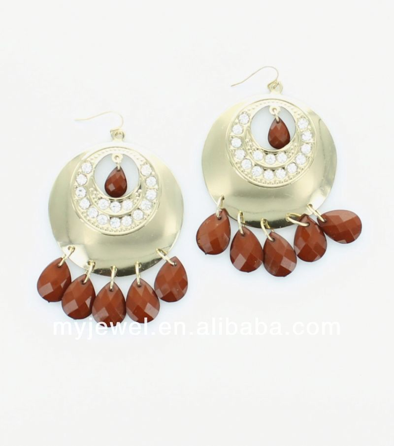 Chandelier Earrings with Rhinestone and Cut Resin Accents artificial jewellery earings matha patti ring and