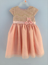 Girls pink flower lace gold glitter party dresses(2-6X)