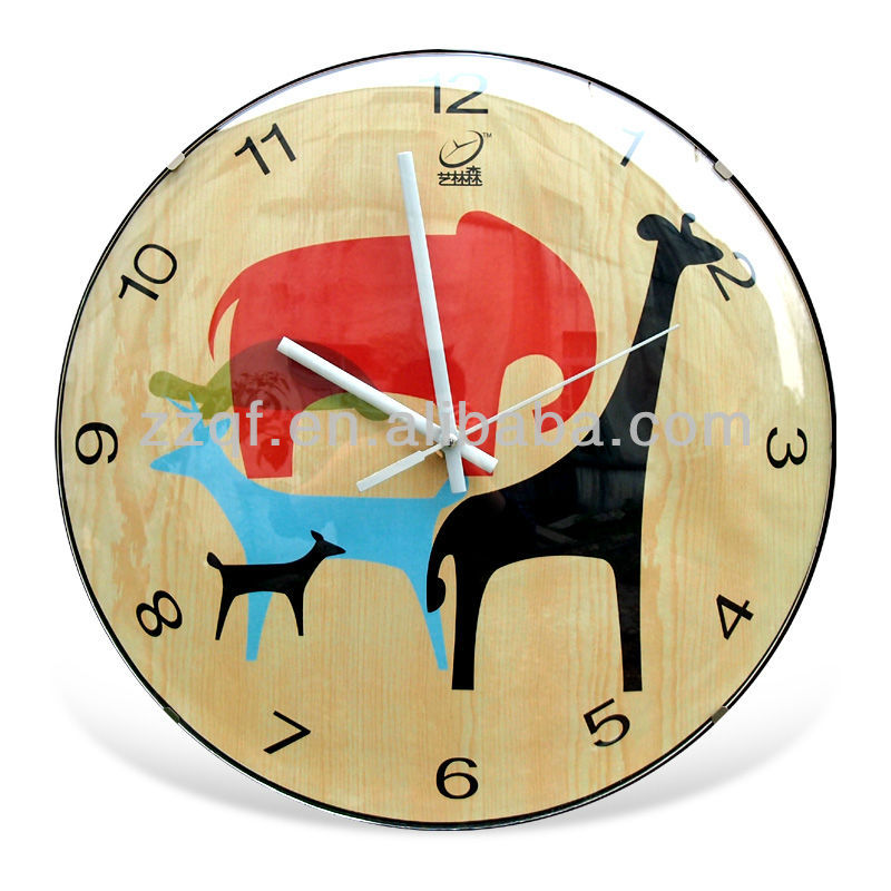 "2013 New Home Decoration Modern 12"" Round Quartz Plastic Cartoon Wall Clock Pictures for Kids"