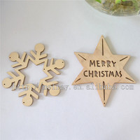Free custom logo Laser cut 2015 Christmas decoration snowflake wood hanging ornaments wood craft christmas ornaments