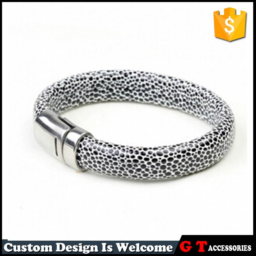 New Arrive Personalized Snake Skin Cow Leather Bracelet Women Men, 316 L Stainless Steel Magnetic Clasp Bracelet