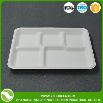 green disposable bamboo biodegradable 5 compartment food tray