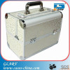 Aluminum hair stylist makeup vanity train case with compartments