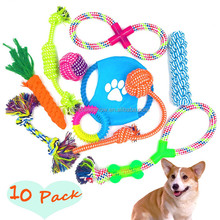 Free Combination 10 Pack Pet Dog Chew Toy Set Gift 2017 Promotional Gift Squeaky Cotton Dog Rope Toy